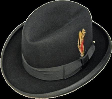 Product  PKK913 GODFATHER NEW Liquid Jet Black 100% Wool Fabric Homburg  Dress Hat 4201 8e326537b810