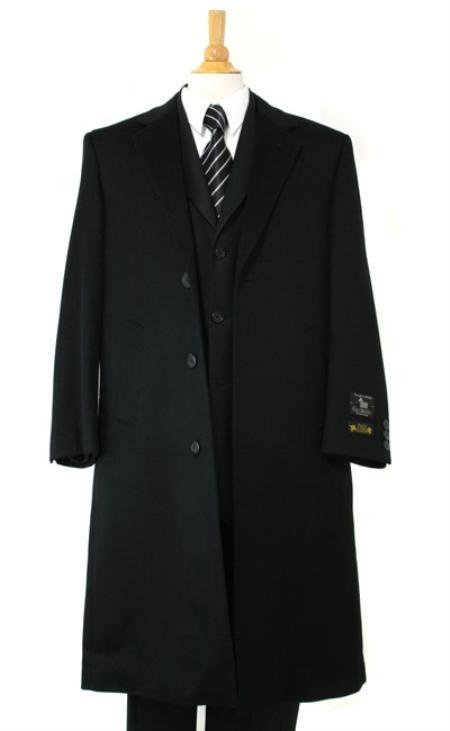 Harward Luxurious soft finest Pure Cashmere&Wool Fabric Full Length Liquid Jet Black Topcoats ~ overcoats outerwear
