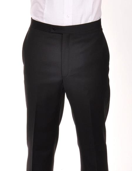 Product# JSM-4633 Tuxedo 100% Wool Ralph Lauren Black Flat Front Pant For Men
