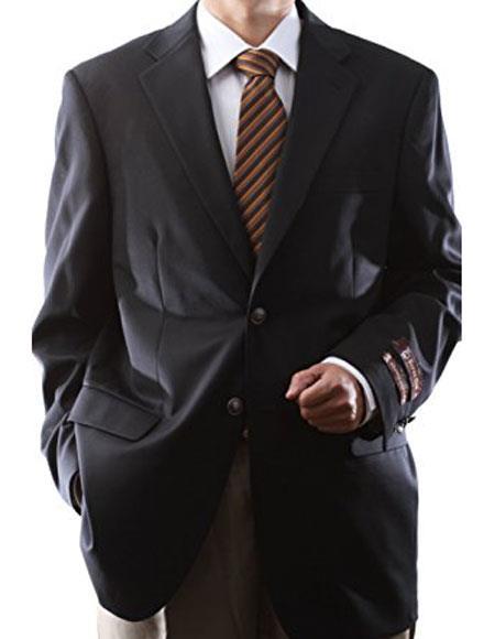 Men's Extra Long & Regular Size 100% Gabardine Wool Fabric Blazer & Sport coat with Silver brass buttons Black