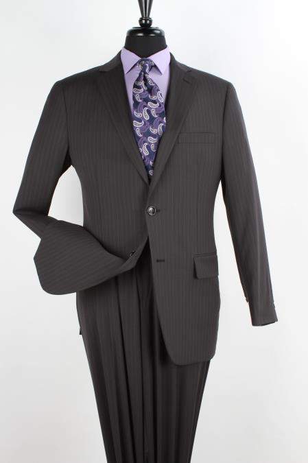 Product# KL3P 2 Piece 100% Wool Fabric Executive Suit - Notch Lapel Liquid Jet Black with Pencil Stripe ~ Pinstripe