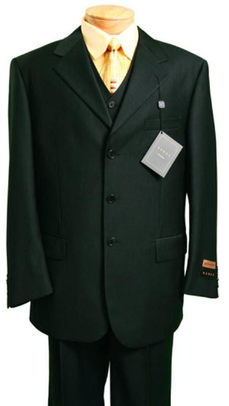 VL3820 Fashion three piece suit in Superior Fabric 150 s Luxurious Wool Fabric Feel Liquid Jet Black