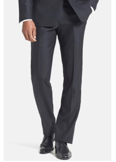 Product# JSM-2364 Ike Wool Plain Front Black Tuxedo Pant