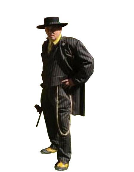 Men's Black and Gold Stripe Single Breasted Long Zoot Suit