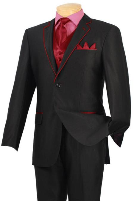 Product# ERD41 Tuxedo Liquid Jet Black red color shade Trim Microfiber Two Button Notch 5-Piece 7 days delivery