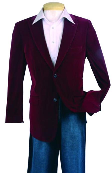 Fashion Sport Coat Wine Color Velvet Fabric