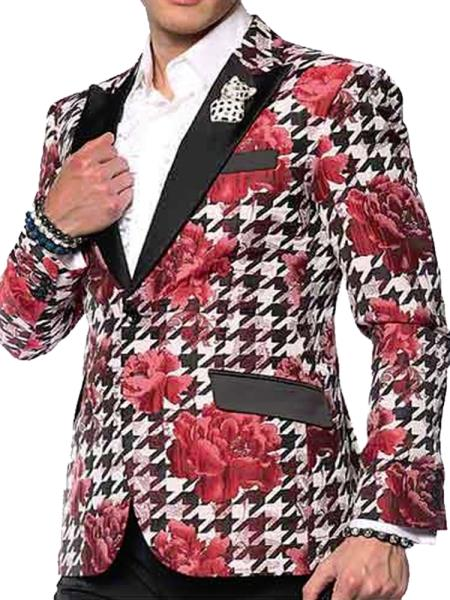 Men's Sport Coat-Hounds Flower Single Breasted Peak Black Lapel Double Vent Red Fashion Blazer
