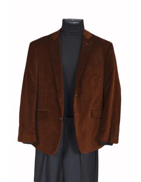 Product# YU5421 Velvet Sport Coat- brown color shade