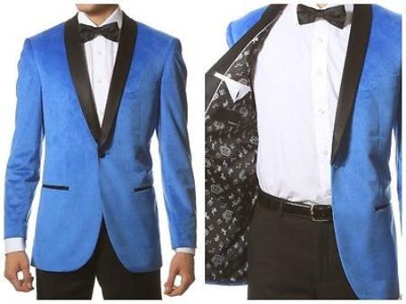 Velvet Blazer - Mens Velvet Jacket Velvet Shawl Collar Dinner Smoking Velour Jacket Notch Lapel, Slim narrow Style Fit Blue