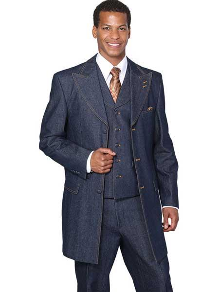 SM1205 Blue 3 Piece Single Breasted Jean High Fashion Vested Long Suit