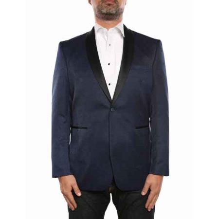 Blue Textured Tuxedo Shawl