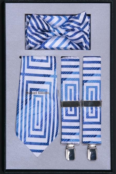 Product# NG50 Suspender, Tie, Bow Tie ~ Bowtie and Hanky Set Light Blue