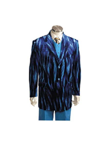 Product# CP5278 Entertainer Blue Velvet Sparkly Cool Zebra Print Suit For sale ~ Pachuco Mens Suit Perfect for Wedding w Vest pronounce visible Gangester