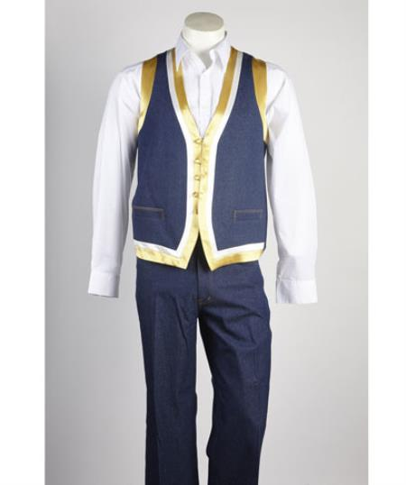 Mens Blue Matching Vest