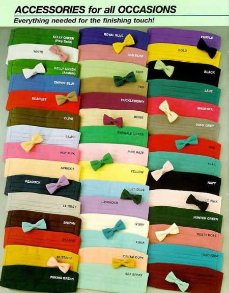 Bow Ties & Cummerbunds Silk Satin in 20 Colors