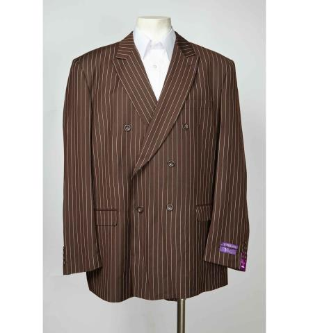 brown color shade Pinstripe 6 Button Double Breasted Peak Lapel Blazer Online Sale