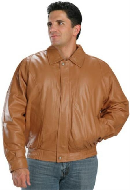 Classic Bomber Leather Jacket In Mango Color Available in Big and Tall Sizes