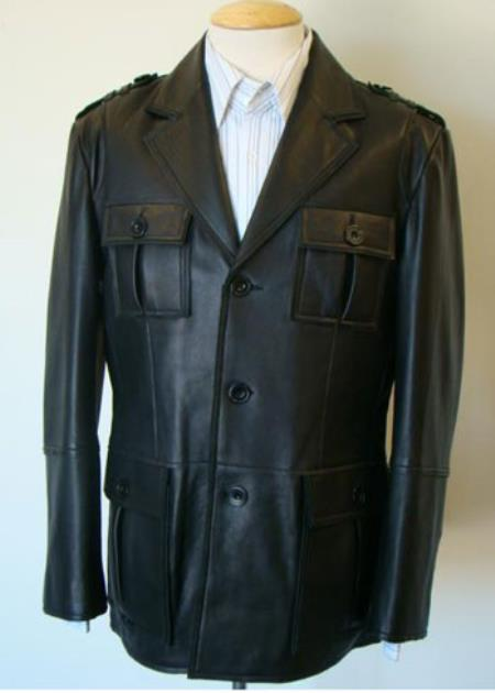 Military-Inspired Leather Button brown color shade Coat Available in Big and Tall Sizes