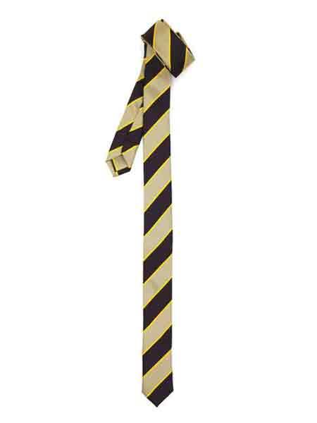 Product# SM1110 Fully Lined Stripe Beige brown color shade Superior Fabric Skinny Slim narrow Style NeckTie