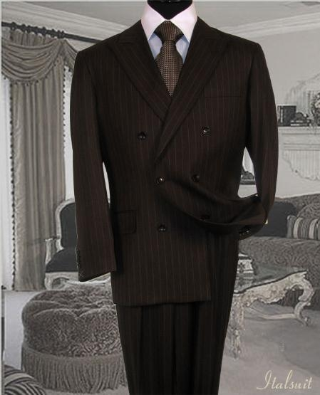 Product# IU6787 brown color shade Suit With Smooth Stripe ~ Pinstripe Non Back Vent Close Split In Back With Pleated Slacks Pants