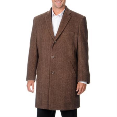 Product# VK-518 Pronto Moda Car Coat 'Ram' Light brown color shade Herringbone Tweed Cashmere Blend Top Coat