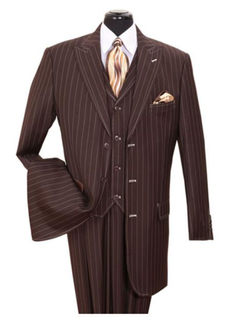 SS-145 Vested 3 Piece pronounce visible Chalk Gangster Pinstripe ~ Stripe