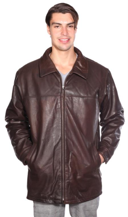 Product# AB110 Classic Zip Front Lamb Coat w/ Thinsulate™ Zip-out Liner brown color shade Available in Big and Tall Sizes