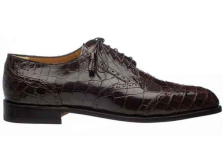 Ferrini Leather Sole And Heel Italian Lace Up Chocolate Alligator skin Belly Wing Tip Shoes