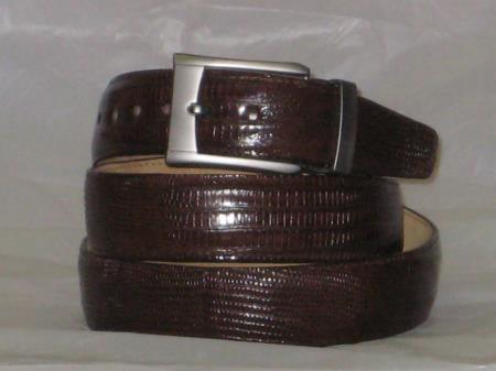 Product# 51D Genuine Authentic brown color shade Lizard Belt
