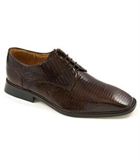 Brown Dress Shoe genuine lizard upper fully leather-lined interior cushioned leather insole leather outsole