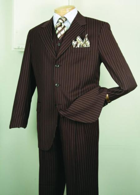 Product# 5802V Chalk pronounce visible Gangster Superior Fabric 150's Luxurious Fashion three piece suit Classic Stripe ~ Pinstripe Design brown color shade