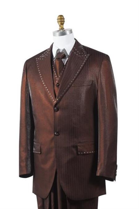brown color shade Sharkskin Rhinestone 3 Piece Entertainer Athletic Cut Suits Classic Fit