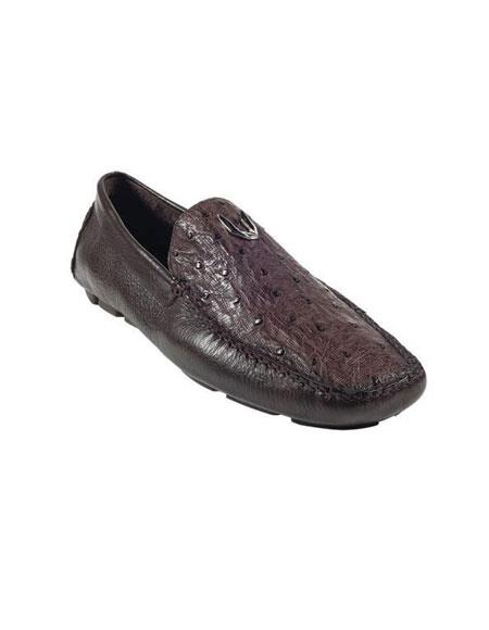 Brown Dress Shoe brown color shade Genuine Full Quill Ostrich Drivers Vestigium Driving Shoes for Online slip on loafers for