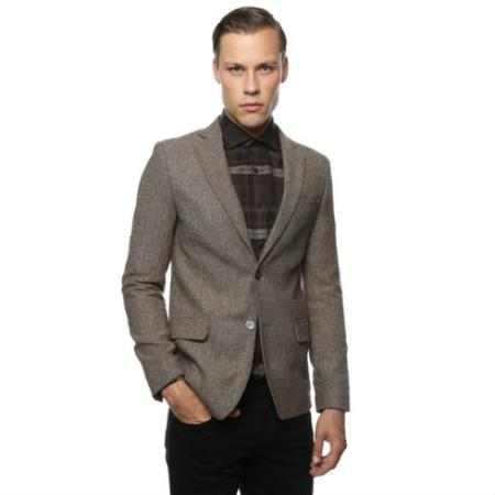 Skinny Cut Tweed Windowpane Pattern brown color shade and Grey Herringbone Tweed Blazer Online Sale