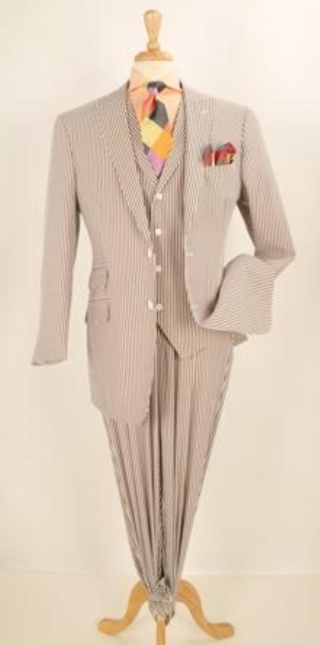 Product# JR55W 3pc brown color shade Summer 1920s 40s Fashion Clothing Look ! Cheap priced Mens Searsucker Seersucker Sale Fabric Fashion Athletic Cut Suits Classic Fit  With Wide Leg Pants