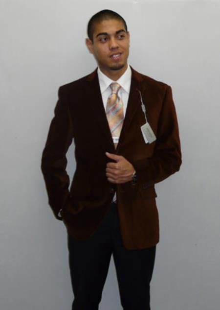 Product# RM1440 Adolfo Formal or trendy casual Spice brown color shade Velvet Blazer Online Sale Dancing Jacket