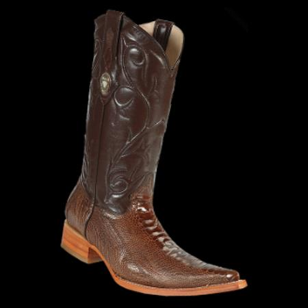 Product# KA2210 New Reg: $795 discounted Online Sale clearance diamonds Boots- Ostrich Leg brown color shade 3x-Toe Cowboy Boots