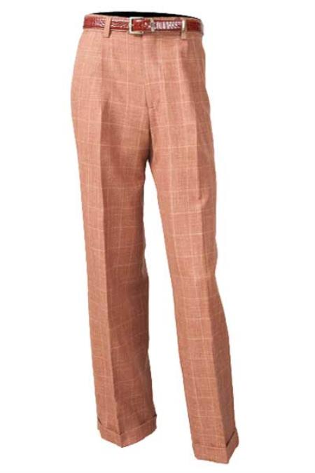 Product# SM844 brown color shade Flat Front 100% Wool Fabric Pleated Slacks Pant With Flap Back Pockets