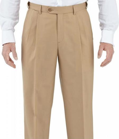 Product# SW966 Winthrop & Chruch 100% Wool Fabric Pleated Slacks Dress Pants Camel