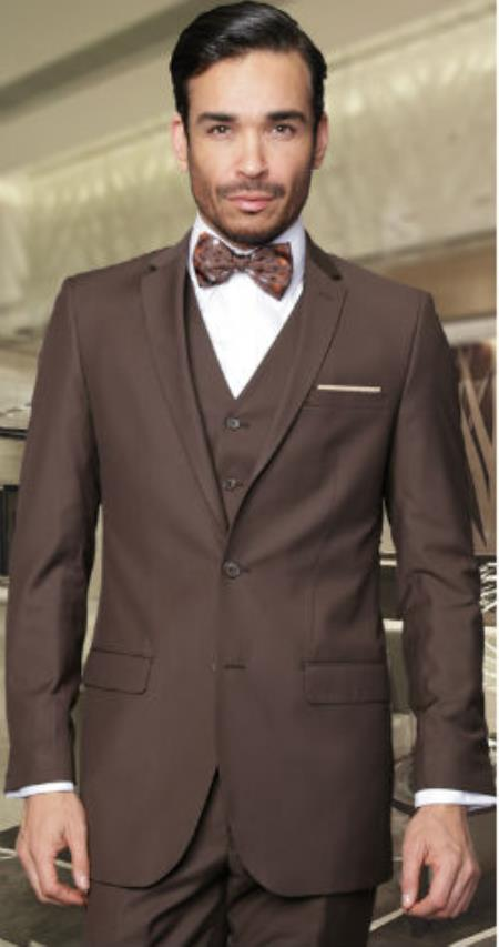 Product# SW941 2-Button Vested Jacket + Pants + Vest 3PC Slim narrow Style Fitted Cut Skinny Lapel Wool Fabric Suit brown color shade