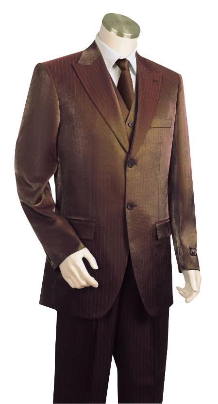 Product# LS8123 3 Piece Vested brown color shade Long length Zoot Suit For sale ~ Pachuco Mens Suit Perfect for Wedding