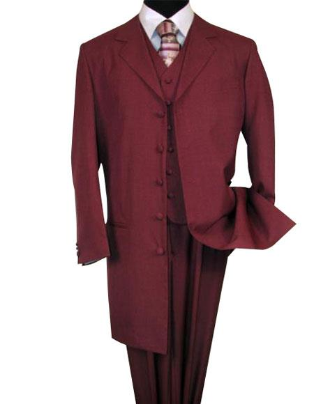 6498 Burgundy ~ Maroon ~ Wine Color FASHION Long length Zoot 1940s men's Suits Style For sale ~ Pachuco men's Suit Perfect for Wedding 38'INCH LONG JACKET WITH COVERED BUTTON.
