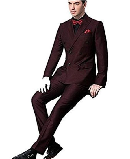 10d36bd870b8bc Product# JSM-280 Men's Double Breasted Slim Fit Side Vent Burgundy ~ Wine  Peaked