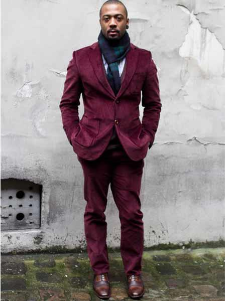 Product# JSM-540 Men's CORDUROY Burgundy SUIT ( Blazer Sportcoat + Slacks)