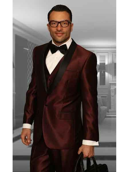 Product# SM1144 Burgundy Shawl Lapel 3 Piece statement attire brand Modern Fit Vested Tuxedo Clearance Sale Online