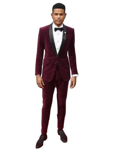 Velvet Suit Mens Burgundy tuxedo Shawl Black Lapel Velvet wedding party dinner suit