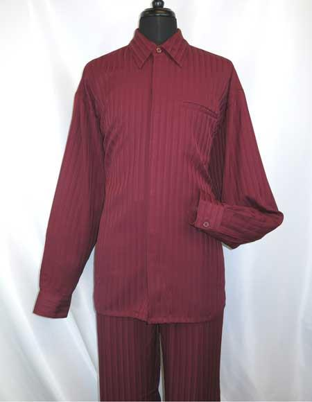 Mens Hidden Buttons Burgundy