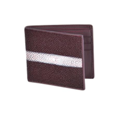 Product# KA2879 Wild West Boots Wallet-Burgundy ~ Maroon ~ Wine Color Genuine Exotic Stingray skin