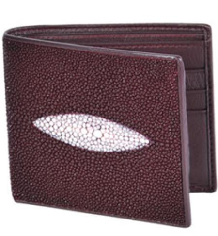 Product# KA3119 Wild West Boots Wallet- Burgundy ~ Maroon ~ Wine Color Genuine Exotic Stingray skin Single St