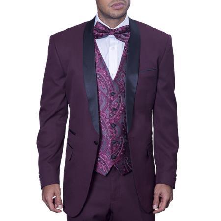 Maroon Burgundy Tuxedo Suit